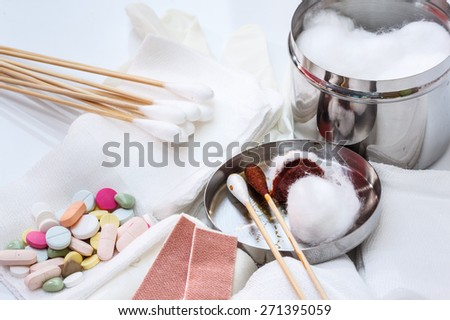 First Aid, With modern medicine to treat various diseases - stock photo