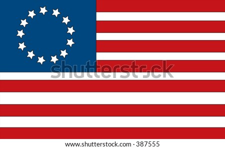 First American flag made by Betsy Ross. Has the 13 colonies. - stock photo