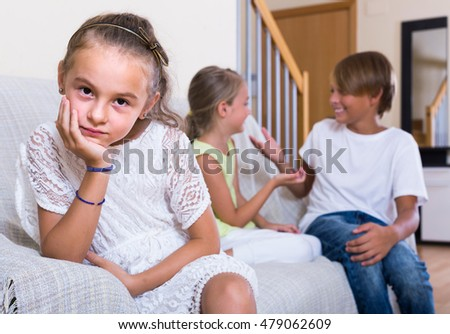 First amorousness: offended european agirl and couple of kids apart indoors