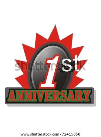 First Anniversary logo - stock photo
