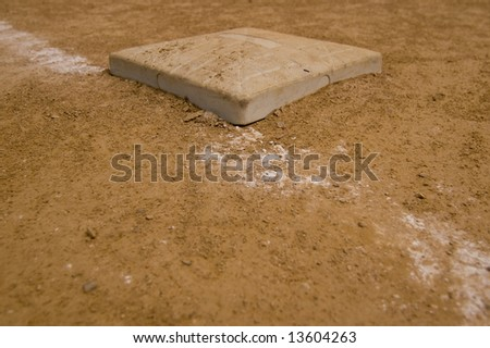 First Base at a local softball field - stock photo