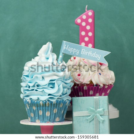 First Birthday cupcake card concept - stock photo
