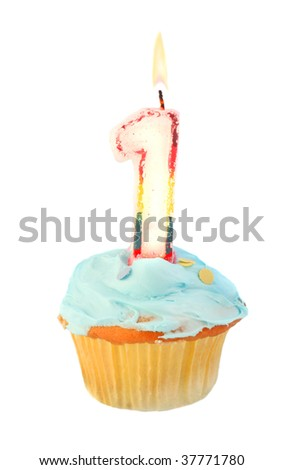 first birthday cupcake with blue frosting on a white background - stock photo