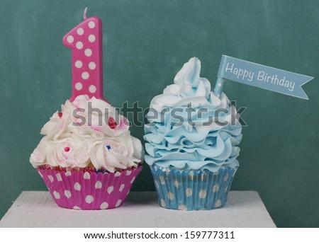 First birthday cupcakes - stock photo