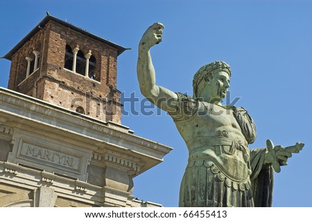 First Christian Roman emperor Constantine statue in front of Basilica di San Lorenzo di Milano. - stock photo
