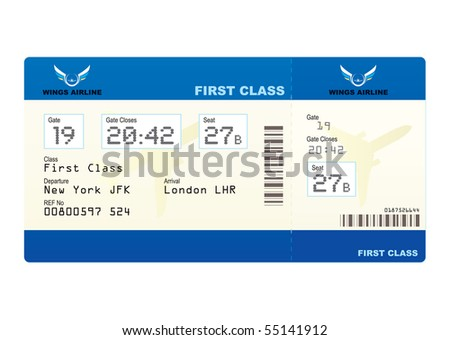 First class boarding pass or plane ticket with destination - stock photo