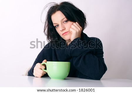 first coffee in the morning after wake up - stock photo