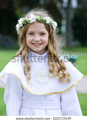 First Communion beautiful girl - stock photo