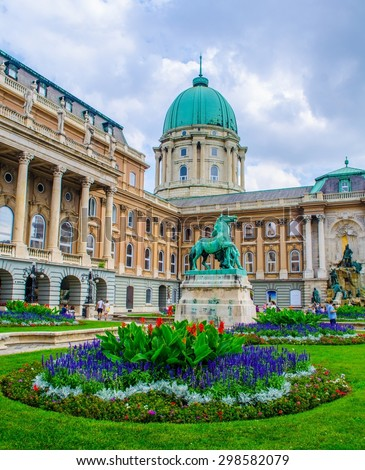 first courtyard inside buda castle complex in hungarian capital budapest. - stock photo