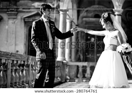 first dance on background old castle - stock photo