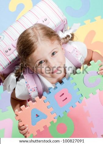 First day of school -  portrait of lovely schoolgirl - stock photo