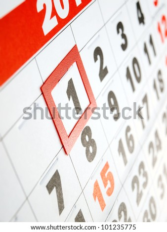 First day of the month marked on the calendar