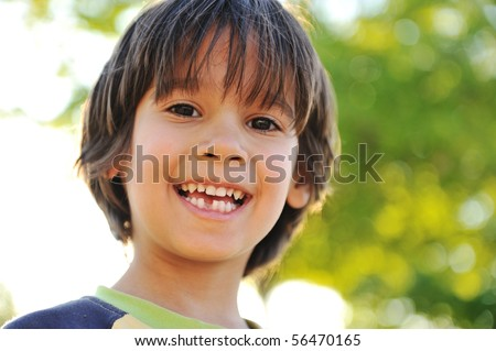 First day to go in school, first tooth down :) - stock photo