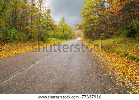 first days of autumn on mountain road