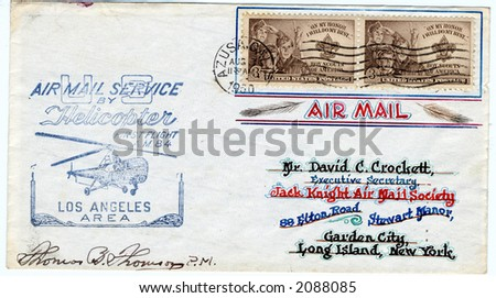 First flight by Helicopter from 1950 cover - stock photo