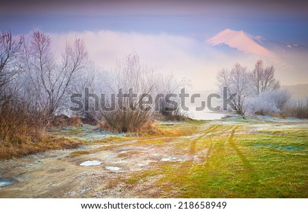First frost in the forest. Foggy autumn sunset. Retro style. - stock photo
