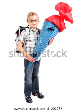 first grade comes with a sack of sweets - stock photo
