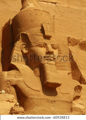 First head from the Temple of King Ramses II, in Abu Simbel (Nubia, Egypt) - stock photo
