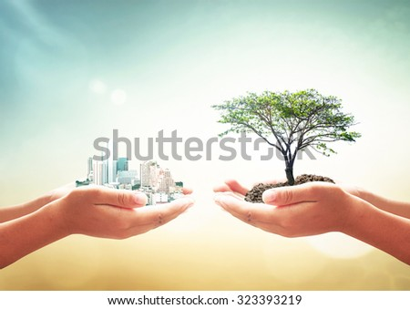 First, human hand holding city. Second, human hand holding big plant over blurred beautiful green nature background. Ecological City, World Environment Day, Sustainable Development, LIT, ROI concept. - stock photo