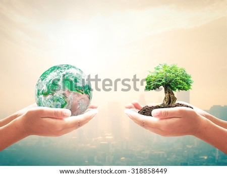 First, human hand holding green planet. Second, big plant and soil over city background with circle light. Ecology, World Environment Day, Investment concept. Elements of this image furnished by NASA. - stock photo