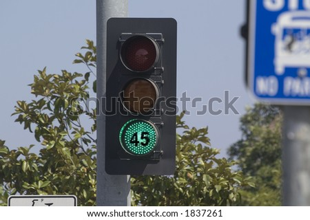 First installation in the US of a traffic light that has the speed limit posted on the green light to slow drivers down - stock photo