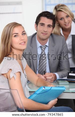 First job interview - stock photo