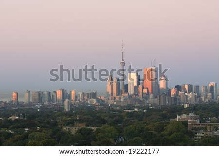 First light shines on Toronto - stock photo