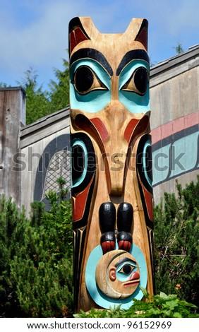 First Nation totem pole - stock photo