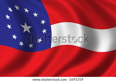 First National Confederate Flag waving in the wind