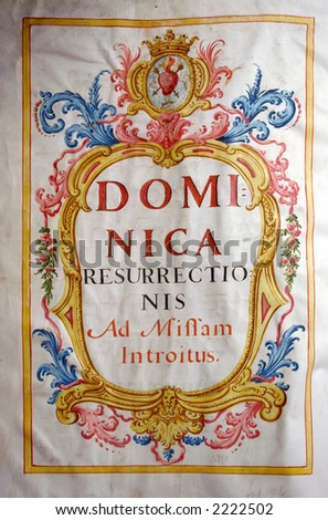 first page of medieval easter missal - stock photo