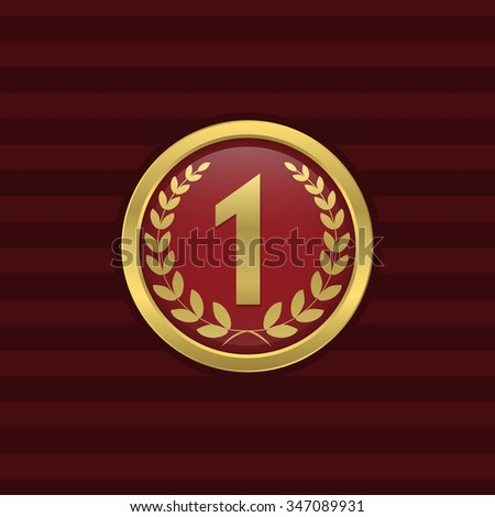 First place and number one golden icon. Award, champion, winner symbol. Raster illustration - stock photo