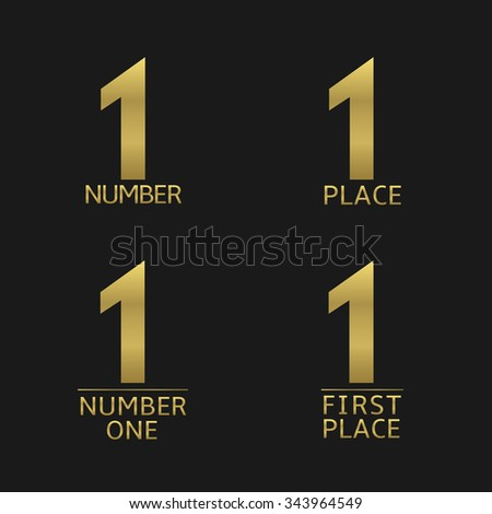 First place and number one golden icon set. Award, champion, winner symbols. Raster copy - stock photo