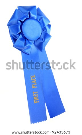 First Place Blue Ribbon Isolated on White - stock photo