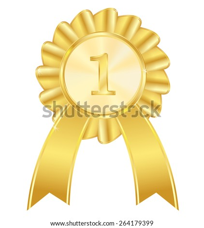 First place golden award ribbon. Isolated on white background. Raster version - stock photo