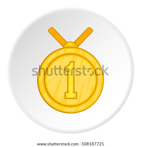 First place medal icon. Cartoon illustration of first place medal  icon for web