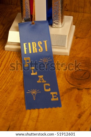 First place ribbon and trophy