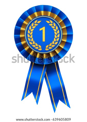 First place ribbon cockade , Blue and gold rosette isolated on white , 3d illustration
