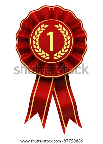 First place winner , red and gold rosette , isolated on white - stock photo