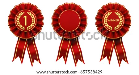 First place winner ribbon cockades , Set of red and gold rosettes isolated on white , 3d illustration