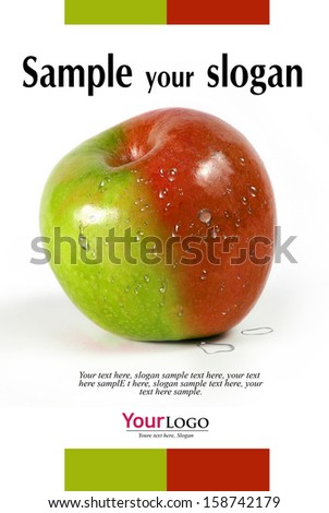first plane of apple of two colors with example texts     - stock photo