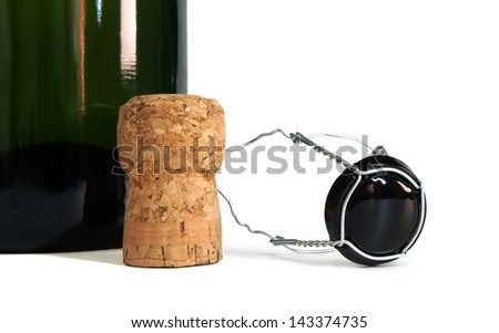 first plane of bottle of champagne with cork plug