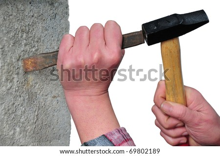 first plane of hands with hammer and it escarps reducing concrete base - stock photo