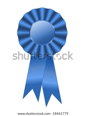 First prize blue ribbon award with ruffle and shiny ribbon tails. - stock photo