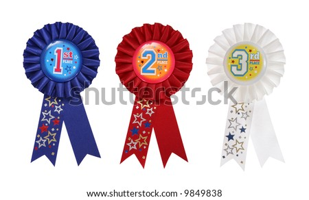 First, Second, and Third place award ribbons over a white background - stock photo