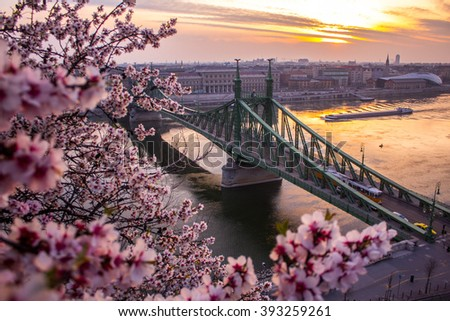 First signs of Spring over Budapest - stock photo