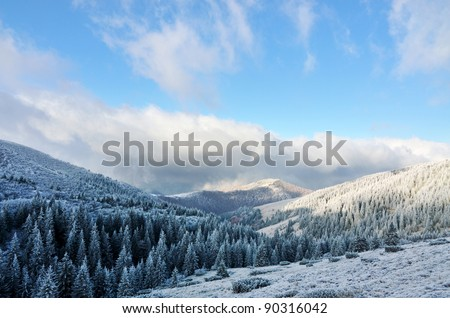 first snow in mountains, fir trees, clouds and mist with blue sky - stock photo