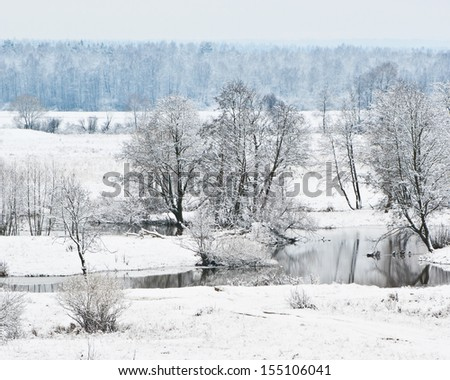 First snow. River Sukhodrev. Kaluga region. Russia - stock photo