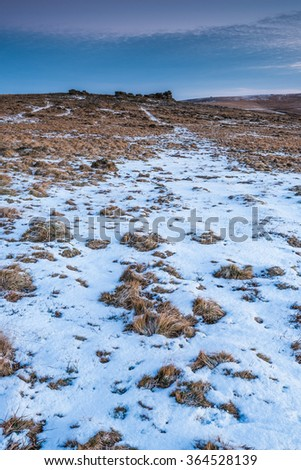 First snowy day in Dartmoor National Park, UK. - stock photo