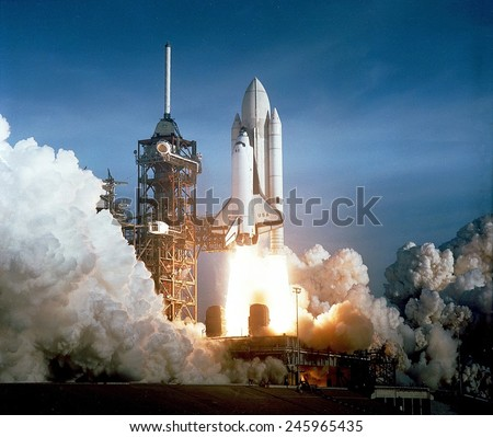 First space shuttle launch on April 12, 1981. Astronauts John Young and Robert Crippen spent 54 hours in Earth orbit and return in an unpowered landing at Edwards Air Force Base in California. - stock photo