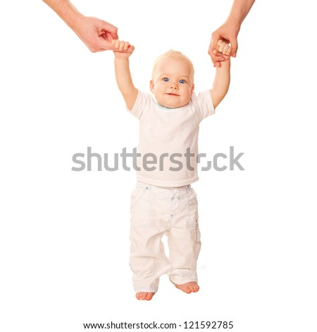First steps. Baby learning to walk, with help of mothers and fathers hands. White T-shirt is ready for your logo or text. Isolated on white background - stock photo